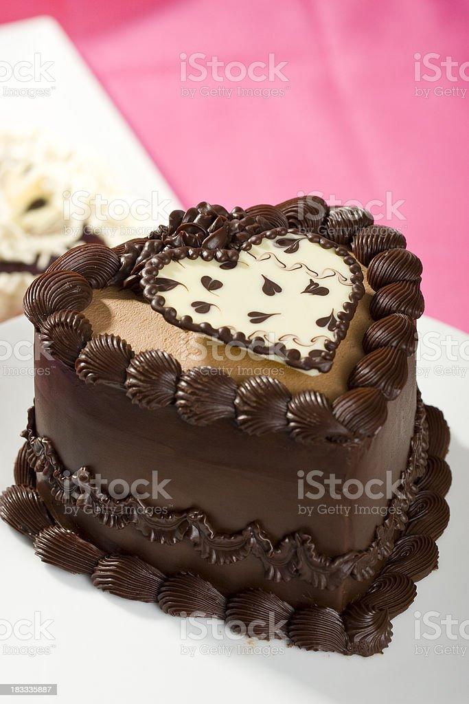 Heart shaped chocolate cake royalty-free stock photo