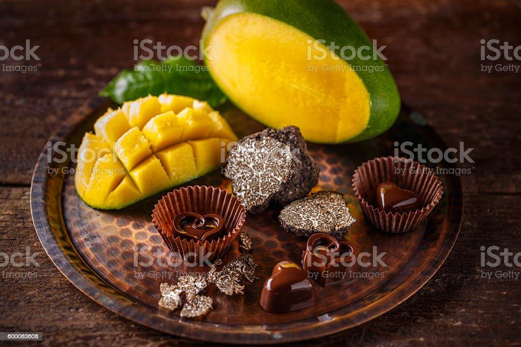 Heart shaped chocolate praline stock photo