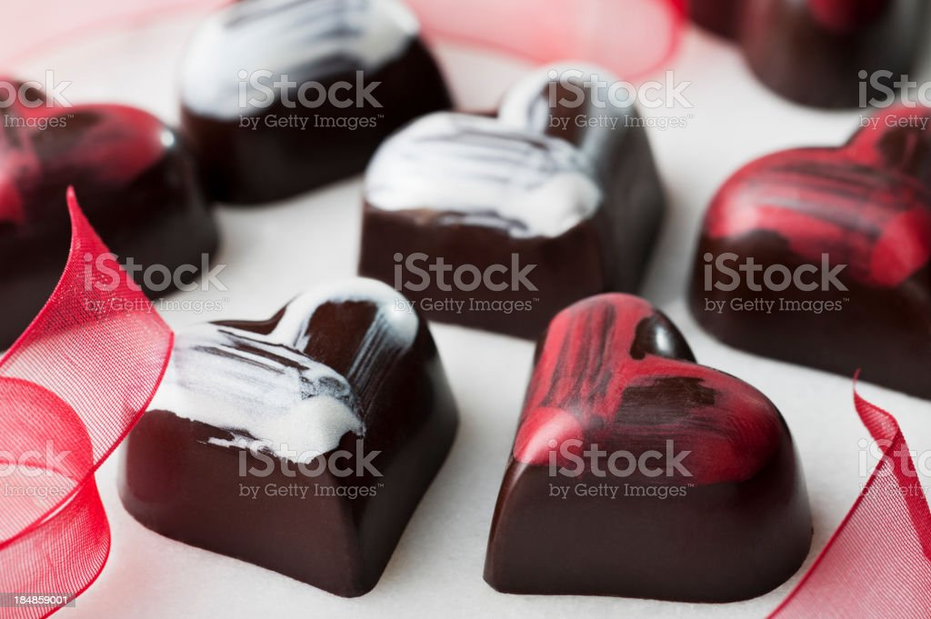 Heart shaped chocolates for valentines royalty-free stock photo