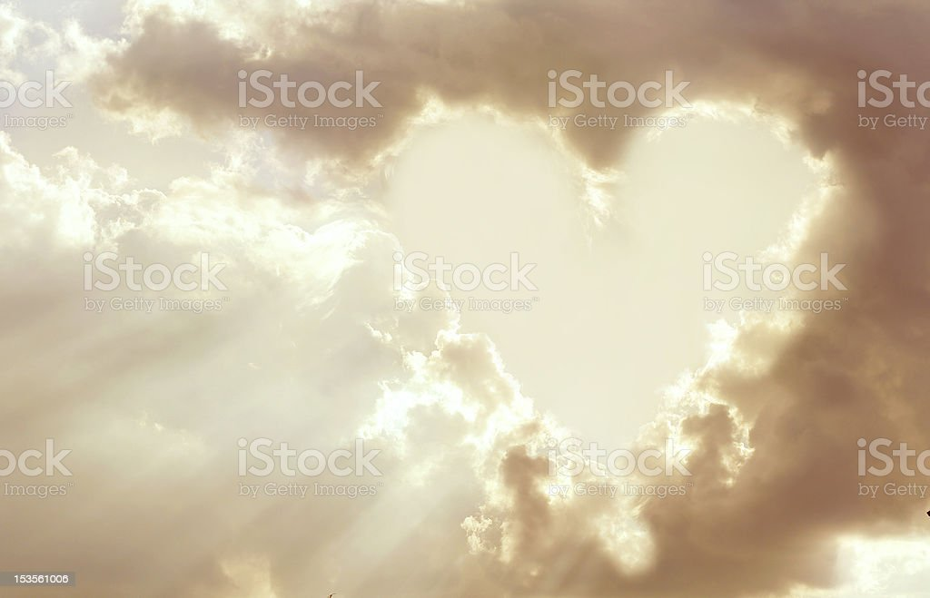 Heart shaped clouds stock photo