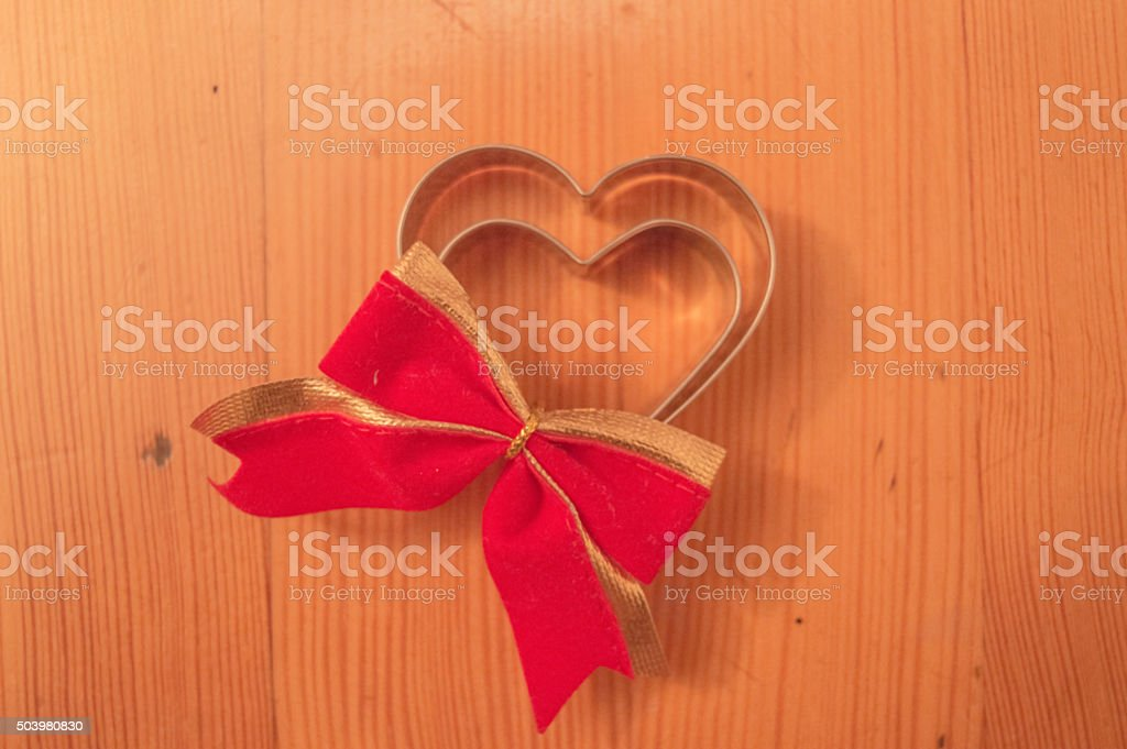Heart shaped cookie cutters stock photo