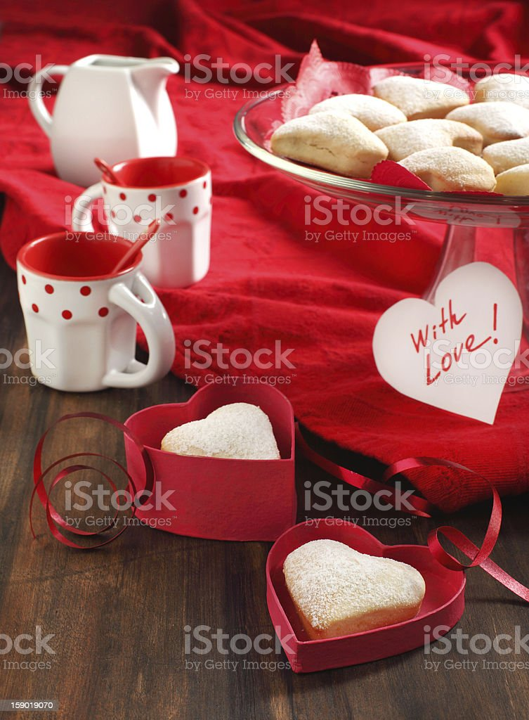 Heart shaped cookies for valentine's day and Card royalty-free stock photo
