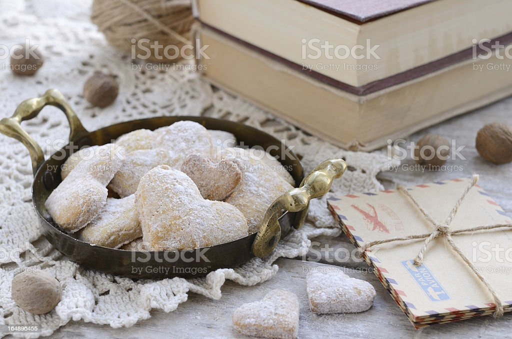 Heart shaped cookies in vintage tray royalty-free stock photo
