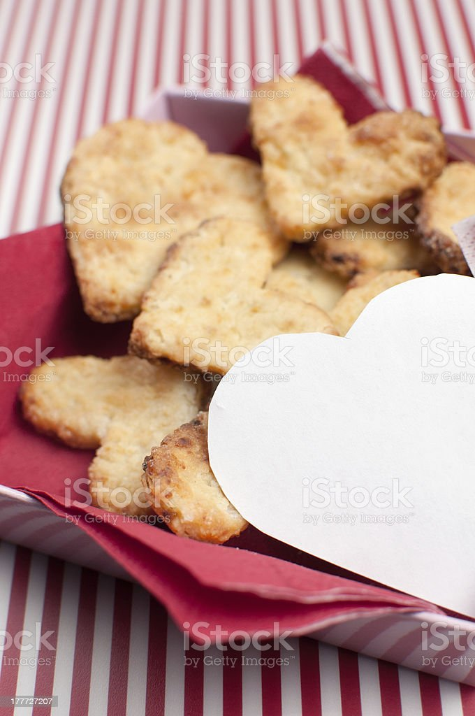 Heart shaped cookies with copy space stock photo
