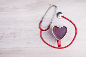 Heart shaped cup and stethoscope