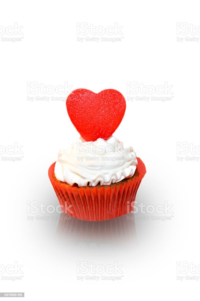 Heart shaped cupcakes stock photo