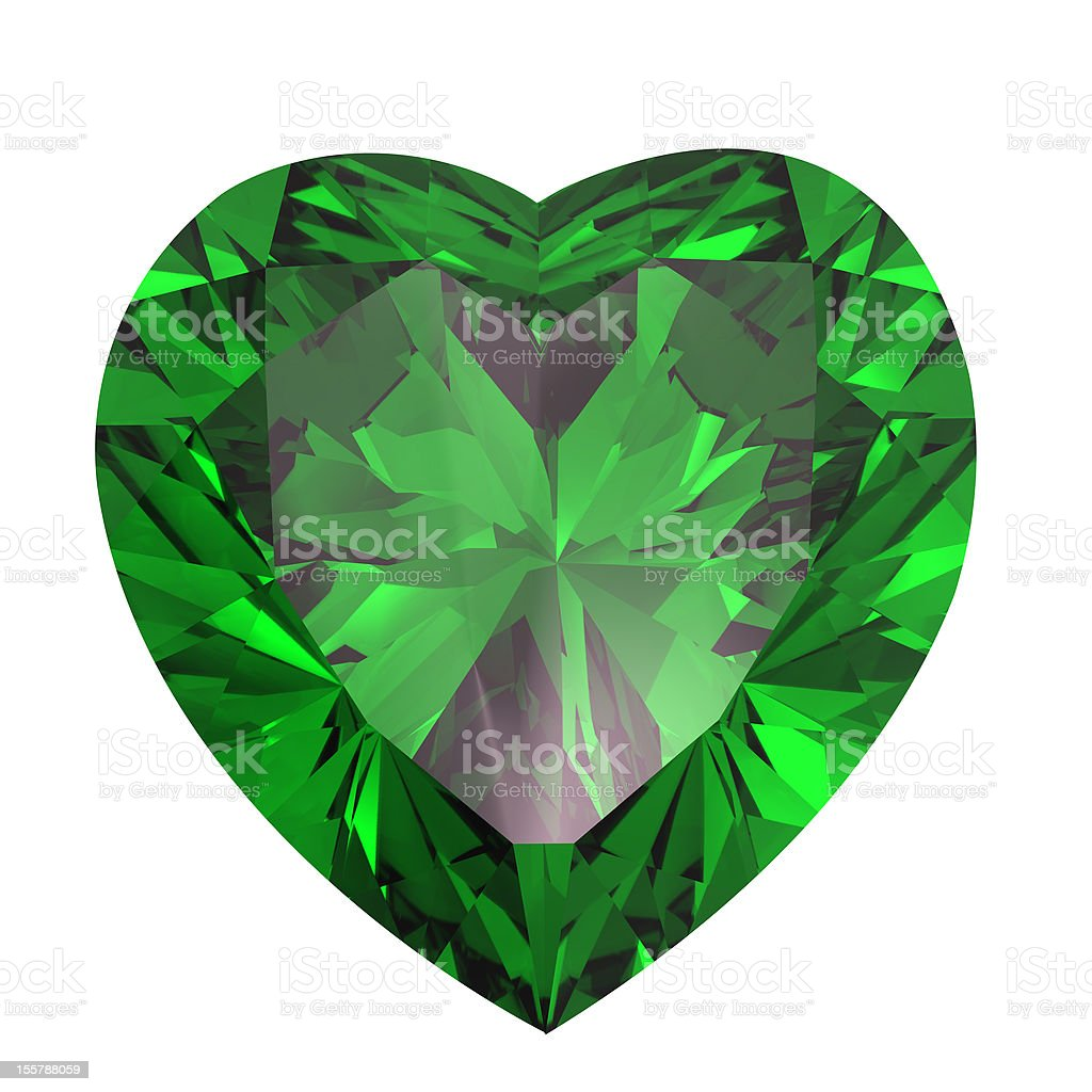 Heart shaped Diamond isolated. emerald royalty-free stock photo