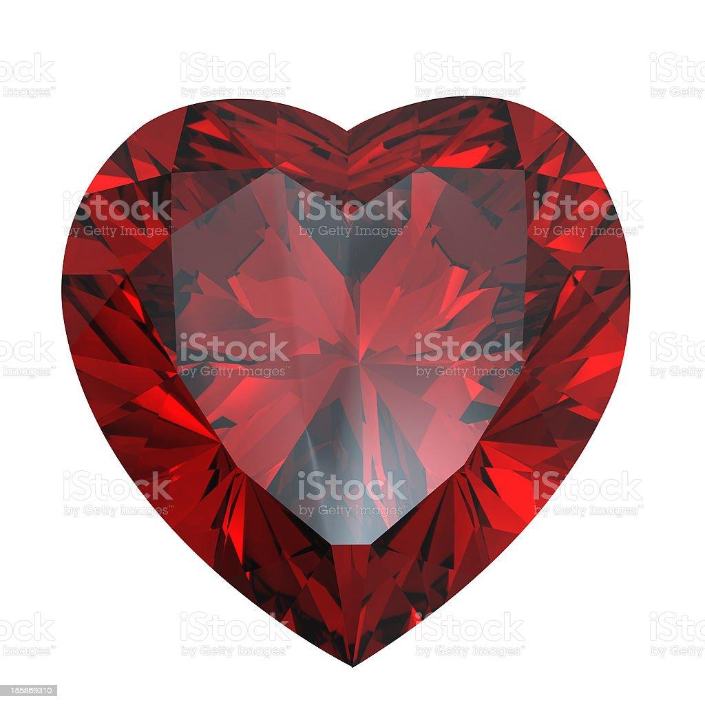 Heart shaped Diamond isolated.   Garnet royalty-free stock photo