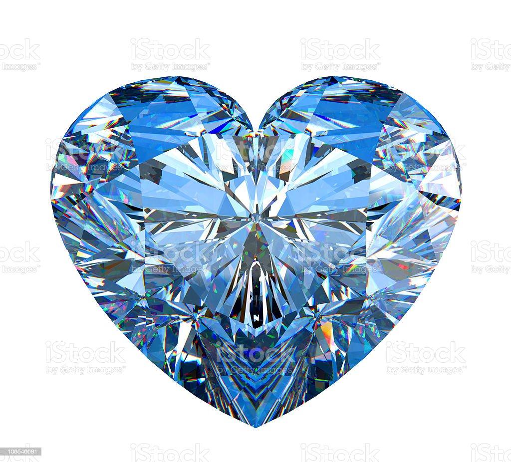 Heart shaped diamond isolated on white stock photo