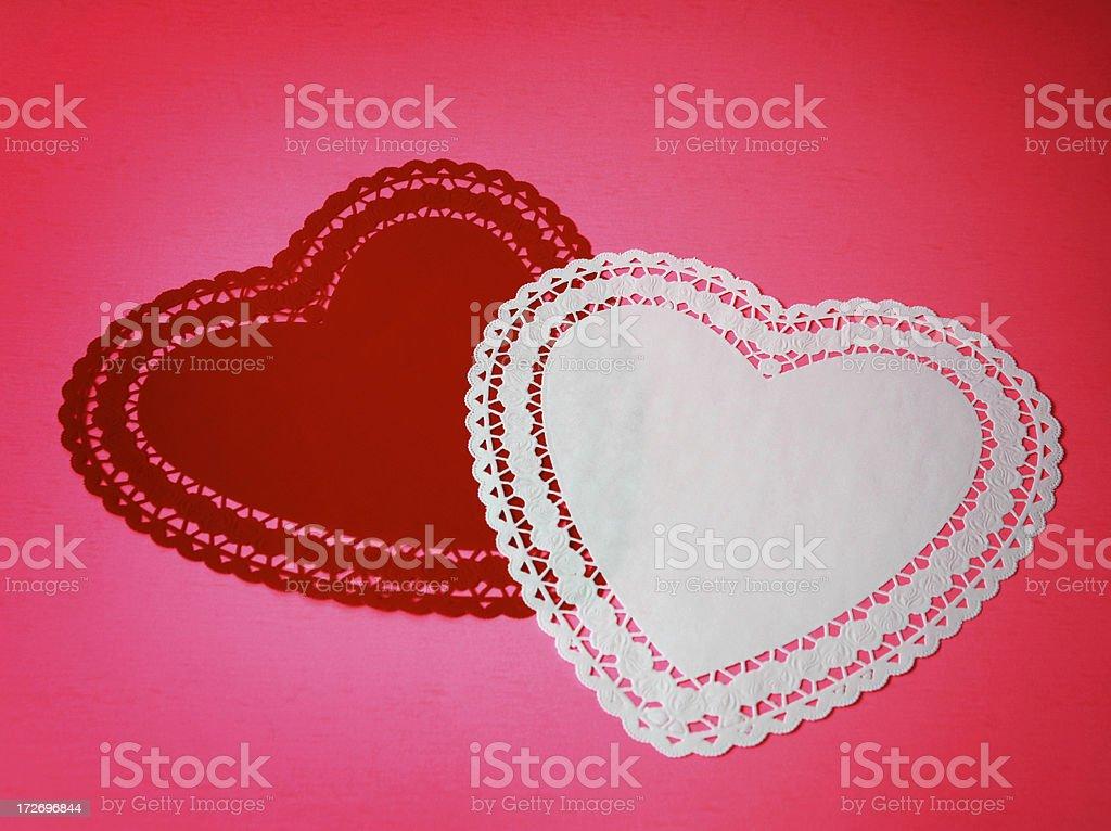 Heart Shaped Doilies stock photo