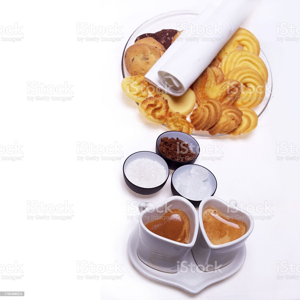 heart shaped espresso coffee cappuccino cups royalty-free stock photo