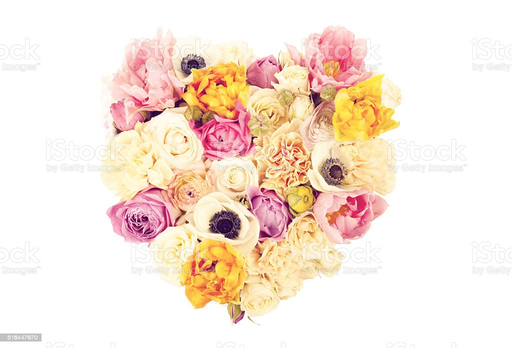 Heart shaped flower bouquet isolated on white stock photo