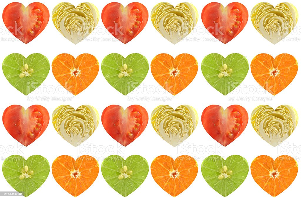 Heart shaped fruit and vegetable stock photo