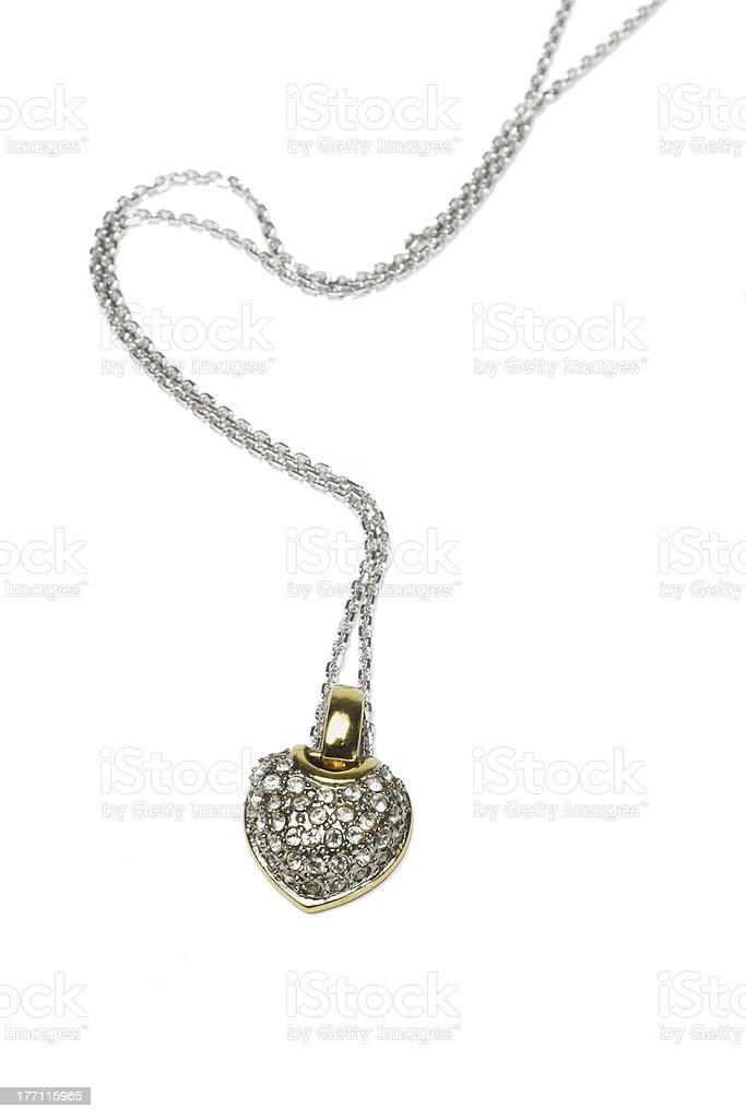 Heart shaped gemstones necklace stock photo