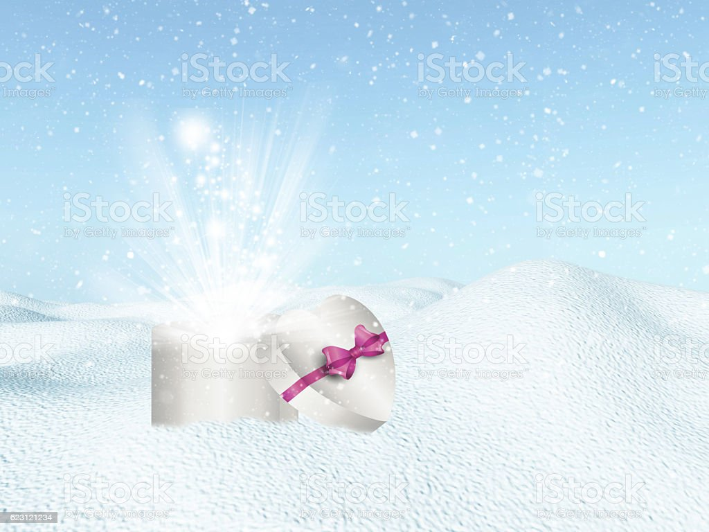 Heart shaped gift box in snow stock photo
