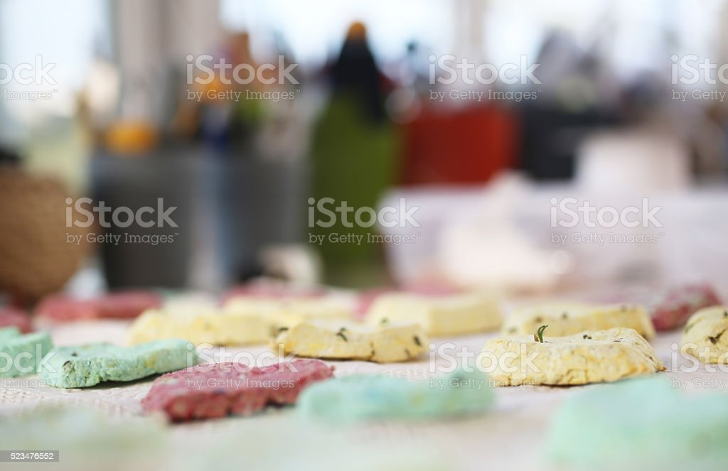 Heart shaped gifts in a row stock photo