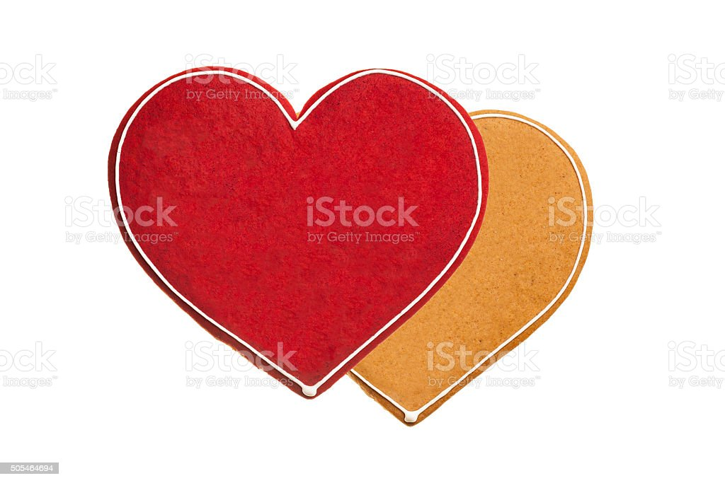Heart shaped ginger breads isolated on white bachground stock photo