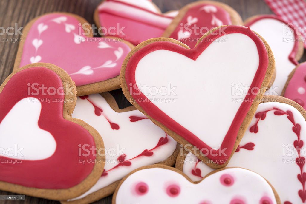 Heart shaped ginger cookies stock photo