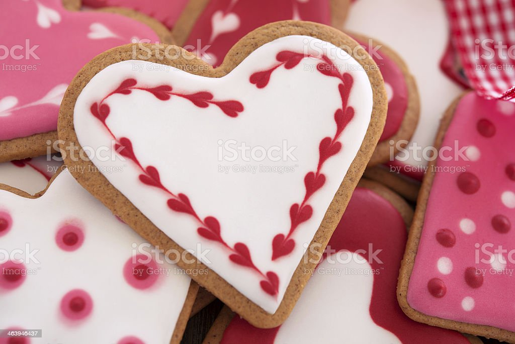 Heart shaped ginger cookies royalty-free stock photo