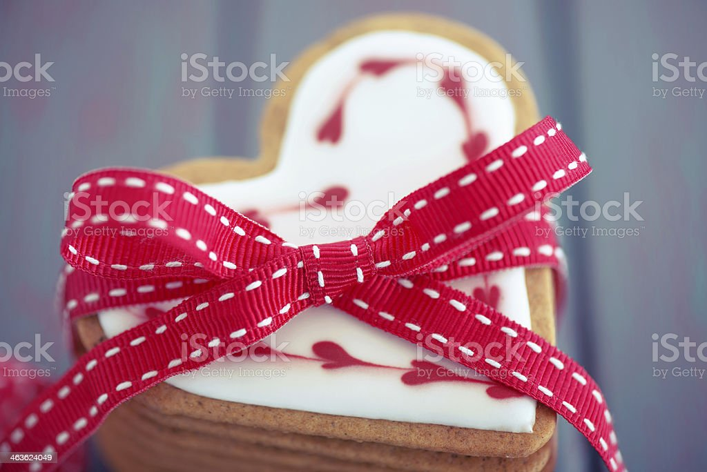 Heart shaped ginger cookies with a ribbon royalty-free stock photo