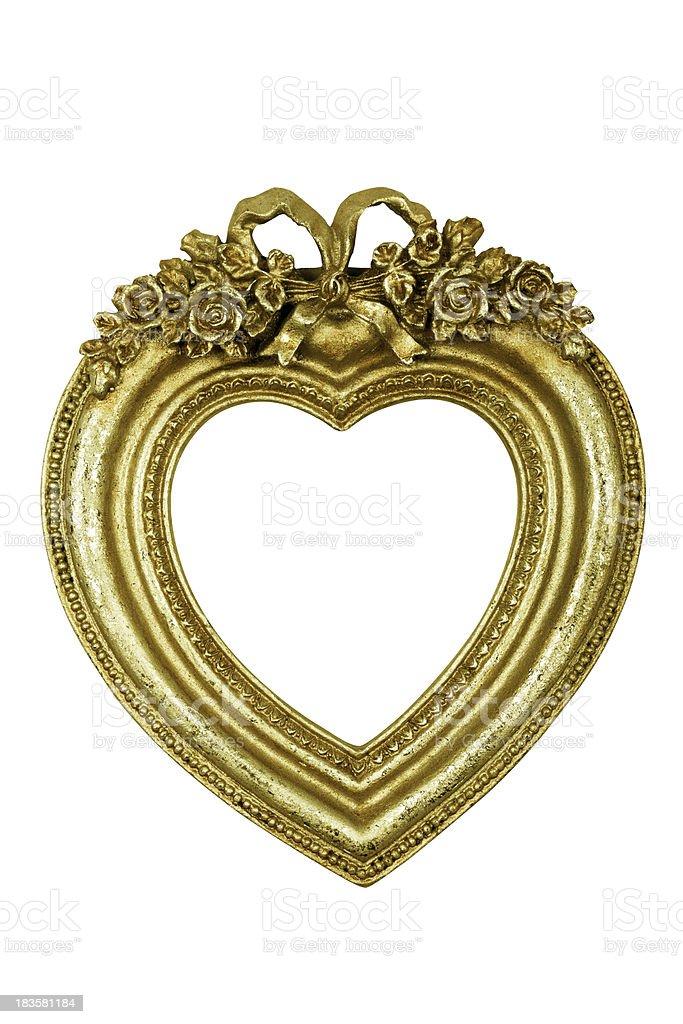 Heart Shaped Gold Frame stock photo