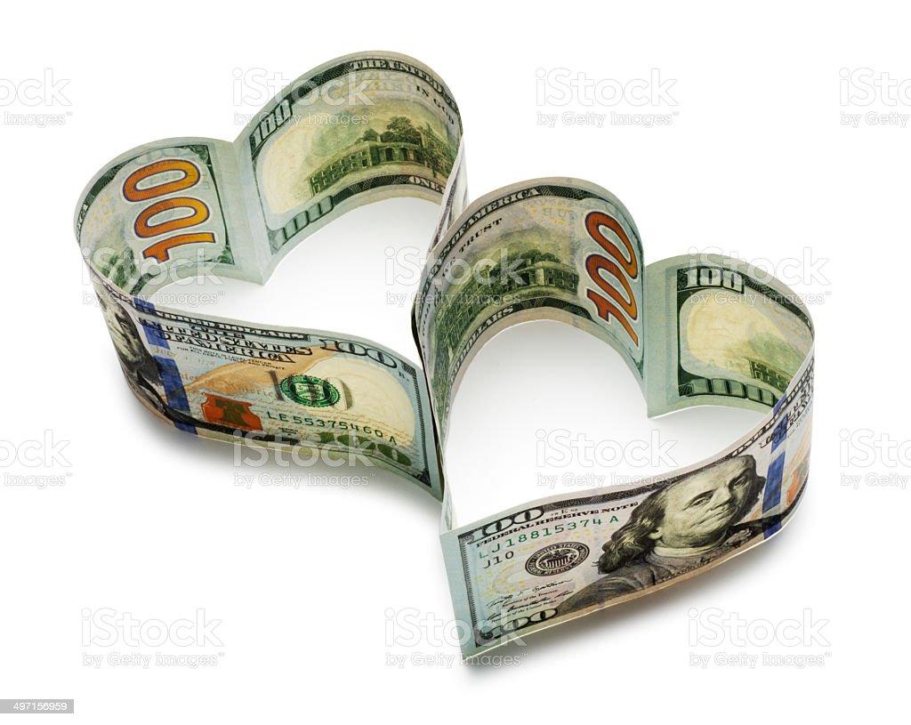Heart Shaped Hundred Dollar Bills stock photo