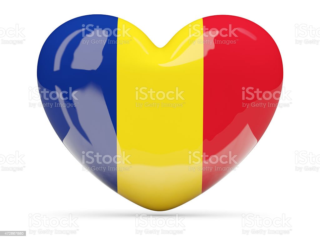 Heart shaped icon with flag of romania stock photo