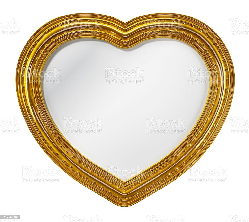 Heart shaped mirror stock photo