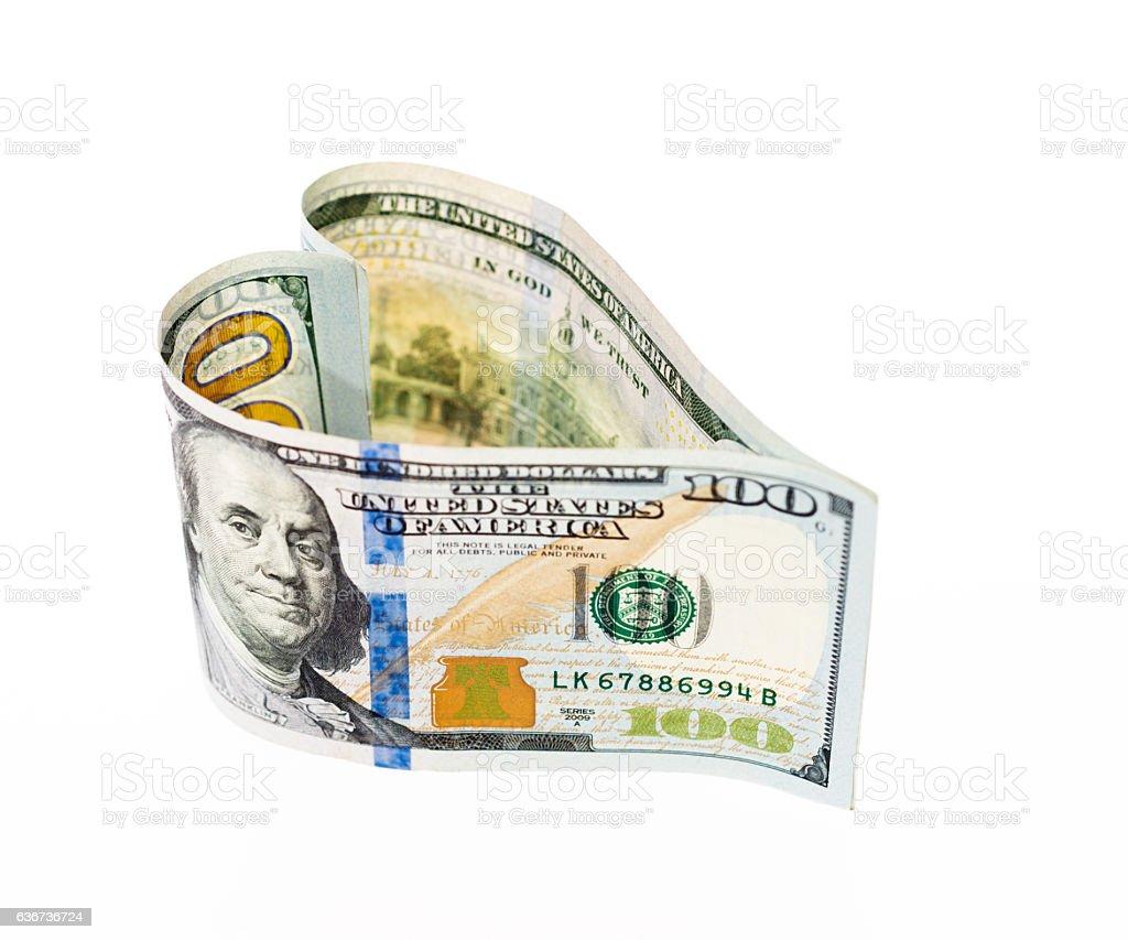 Heart shaped money stock photo