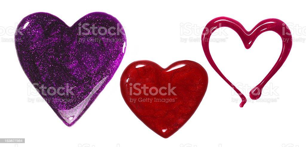 Heart Shaped Nail Polish Spills stock photo