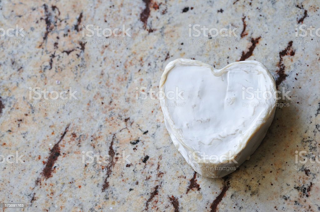 heart shaped Neufchatel French cheese stock photo