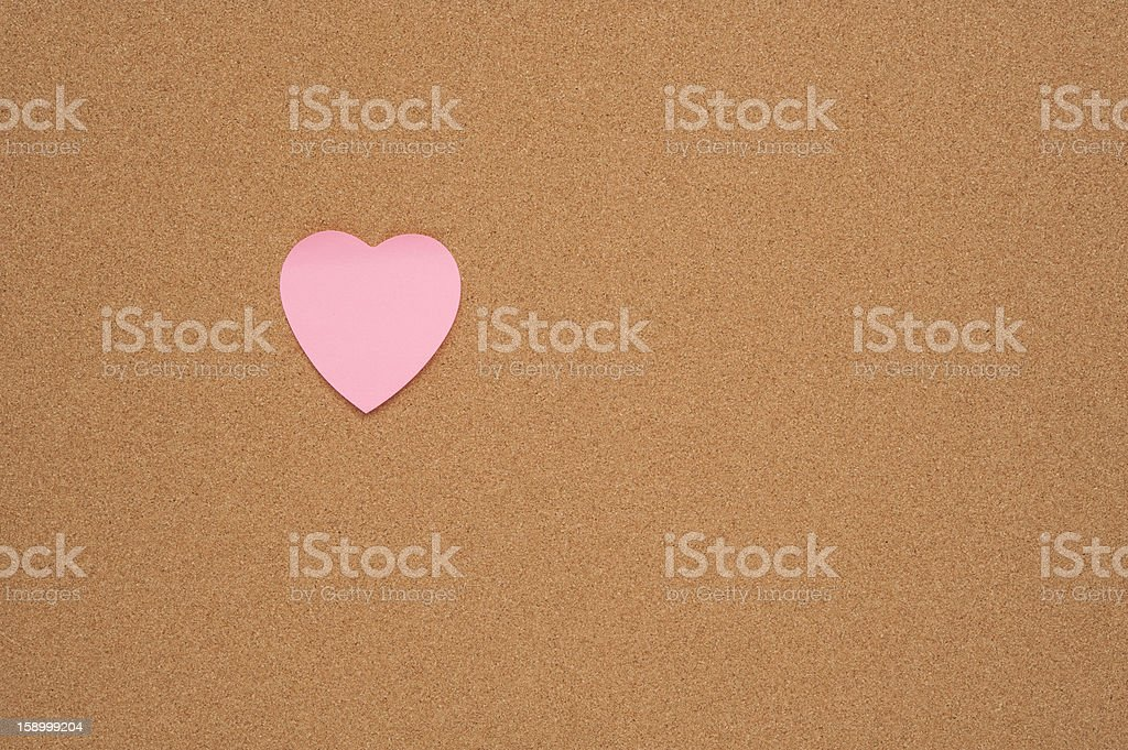 Heart Shaped Note on Bulletin Board royalty-free stock photo