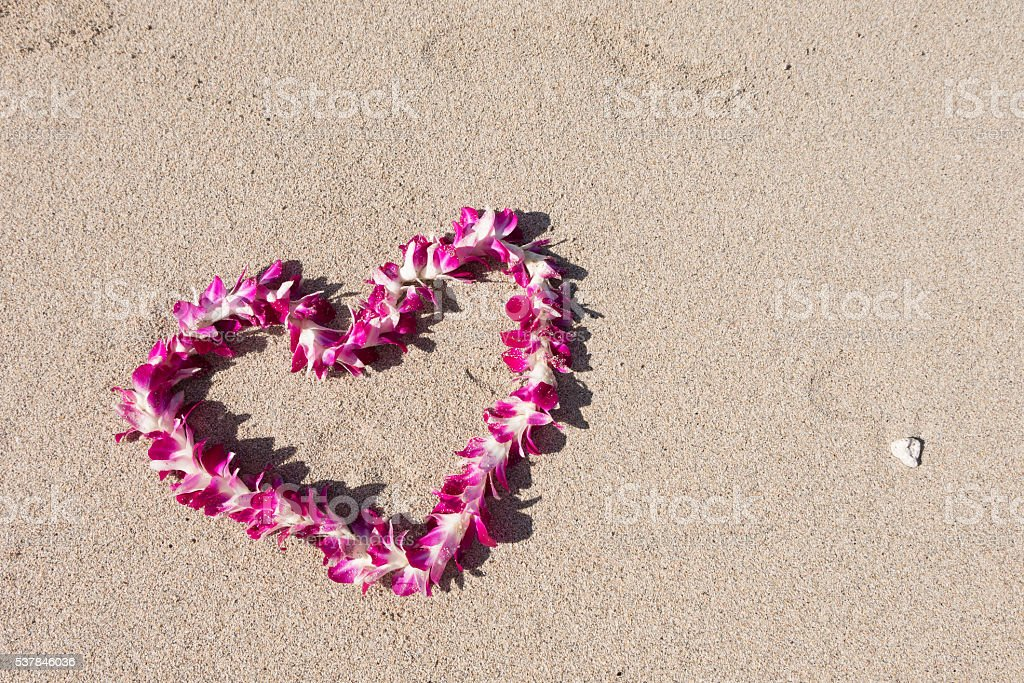 heart shaped orchid flower garland sand white sand baech stock photo