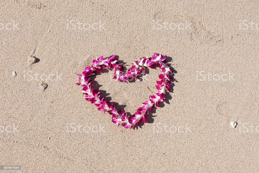 heart shaped orchid flower garland white sand beach stock photo