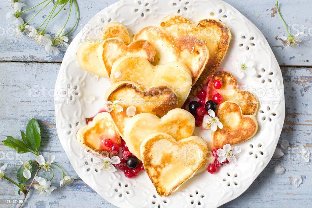 Heart shaped pancakes royalty-free stock photo