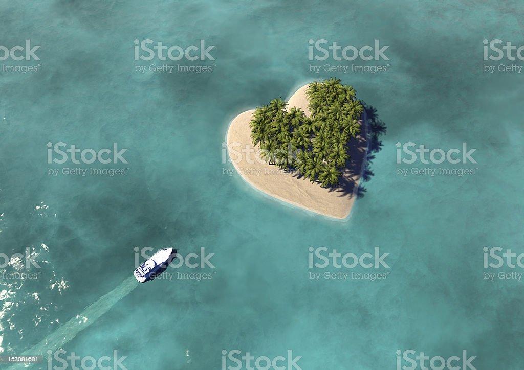 Heart Shaped Paradise Island stock photo