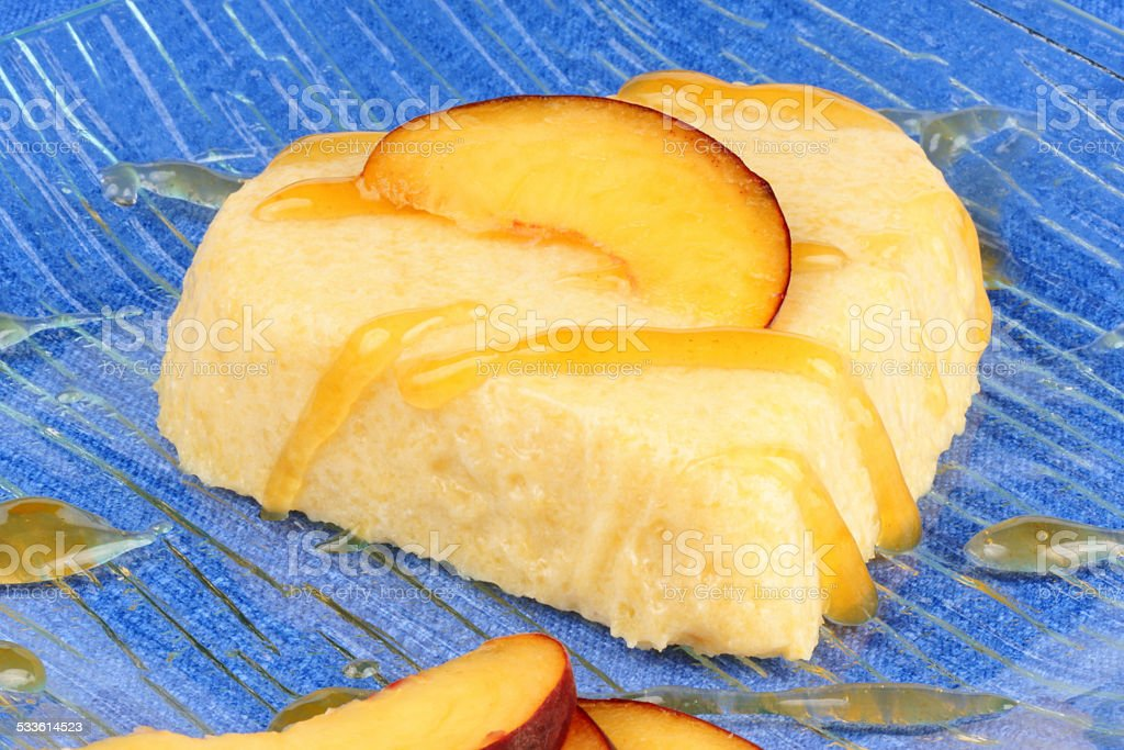 Heart shaped peach bavarian cream dessert (bavarese) stock photo