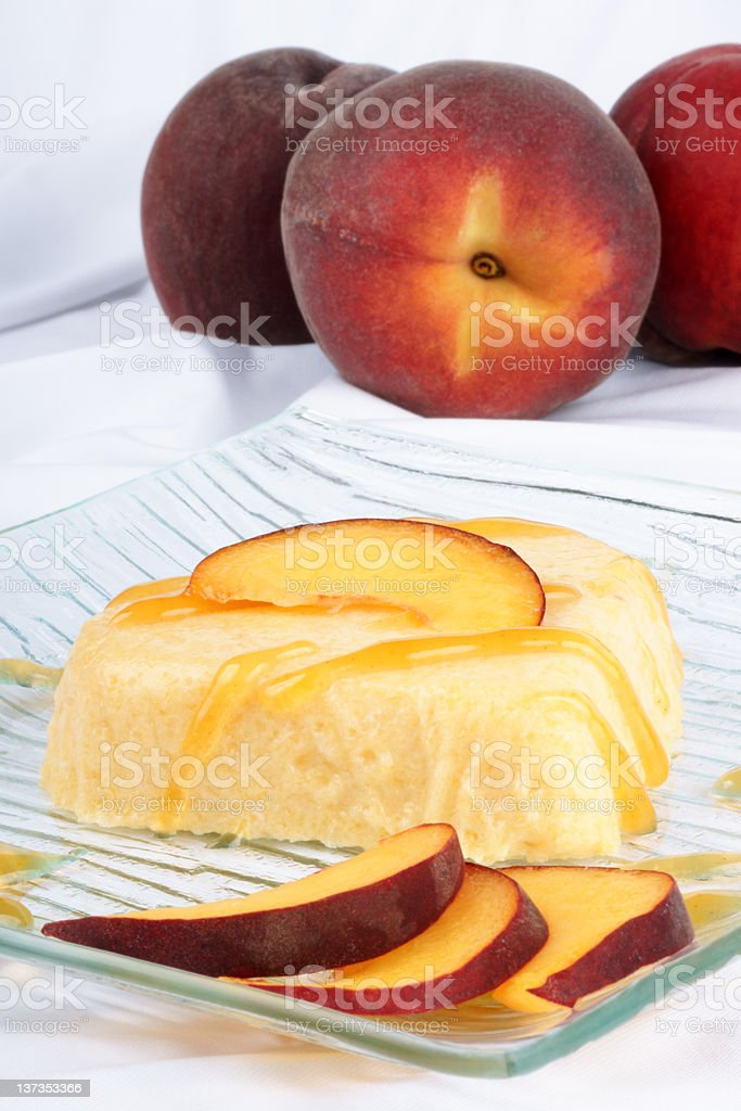 Heart shaped peach bavarian cream stock photo