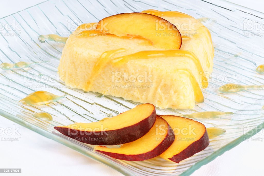 Heart shaped peach bavarian cream (bavarese) stock photo