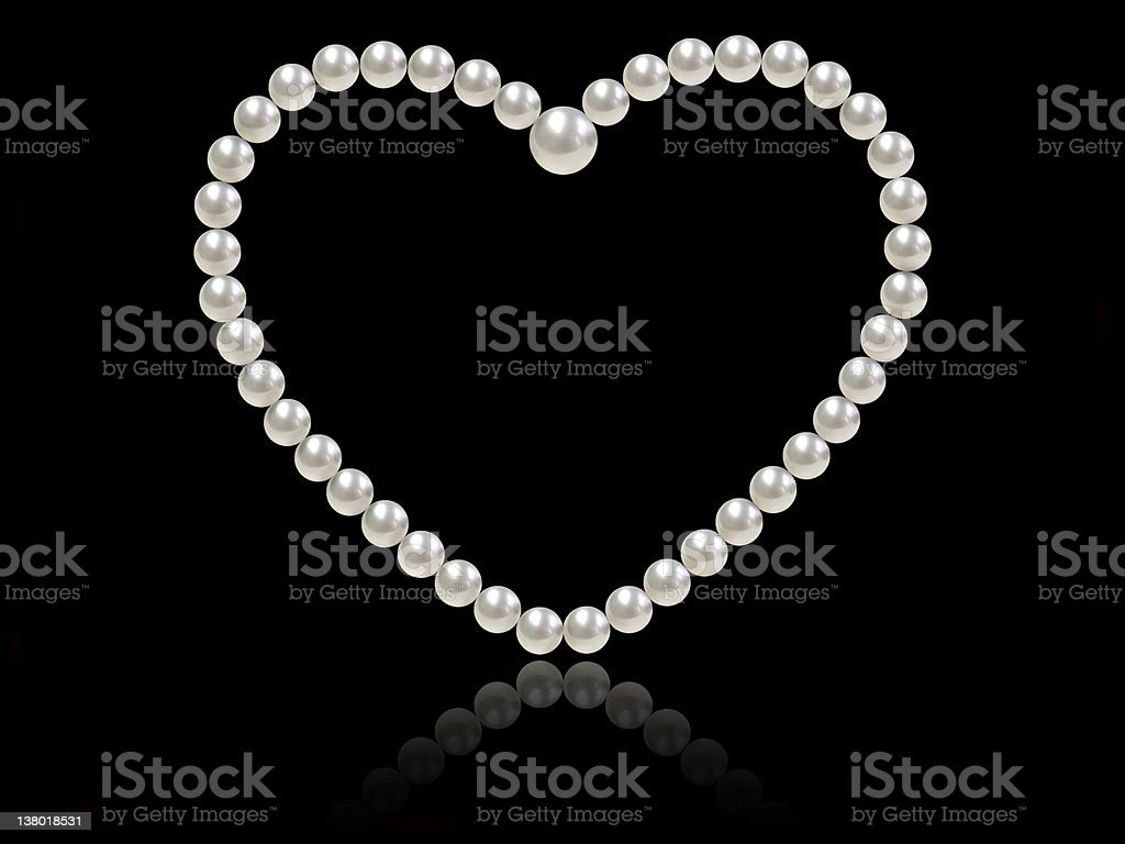heart shaped pearl strand royalty-free stock photo