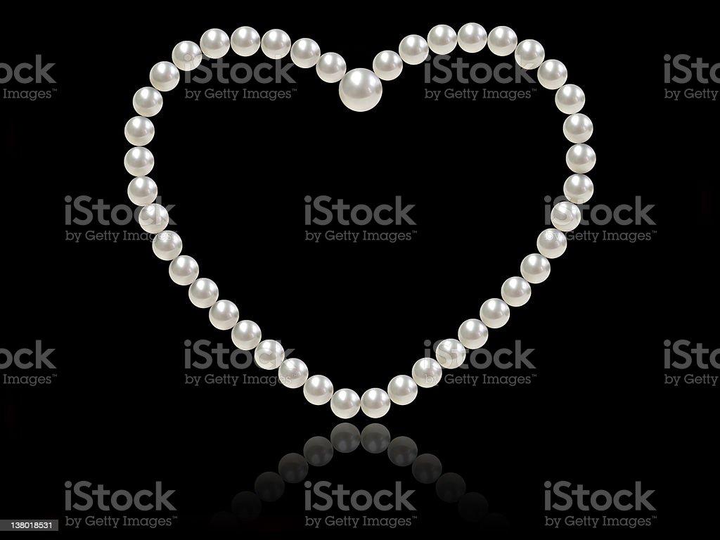heart shaped pearl strand stock photo