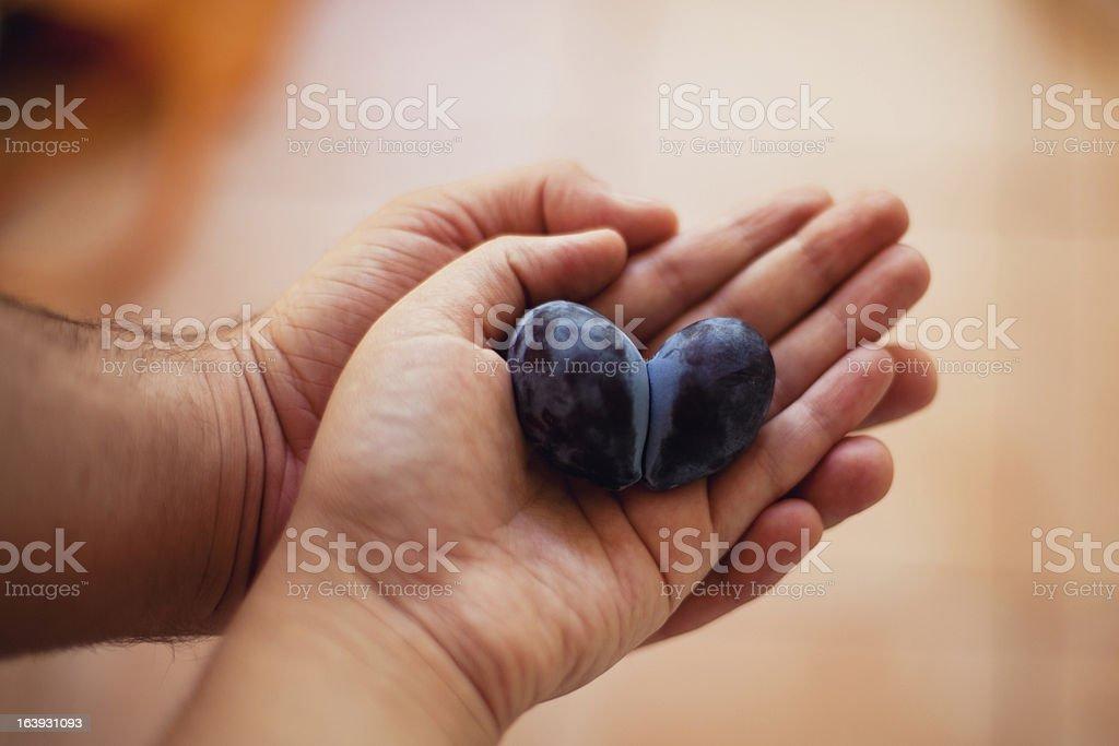 heart shaped plum stock photo