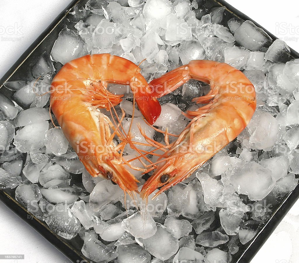 Heart Shaped Prawns royalty-free stock photo