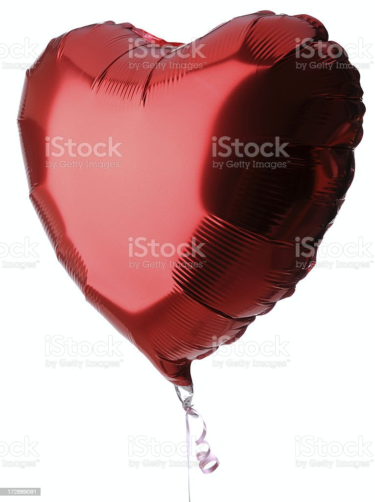 Heart Shaped Red Balloon on White Background stock photo