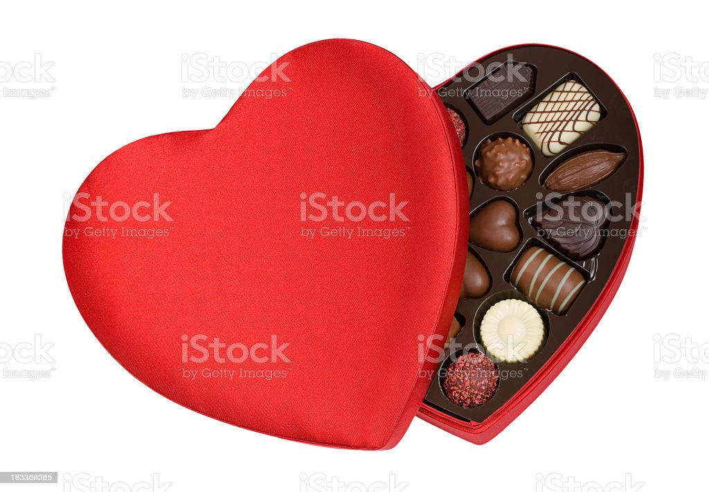 A heart shaped red box contained valentines day chocolate stock photo