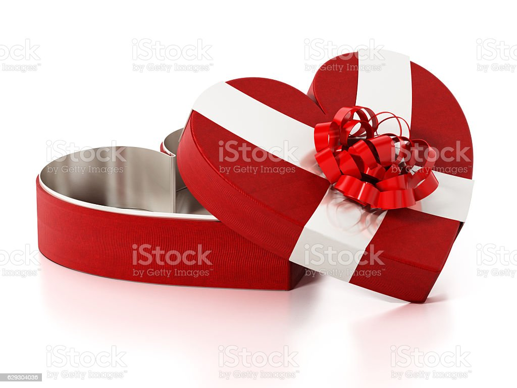 Heart shaped red box wrapped with ribbons stock photo