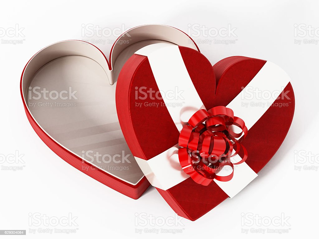 Heart shaped red box wrapped with ribbons vector art illustration