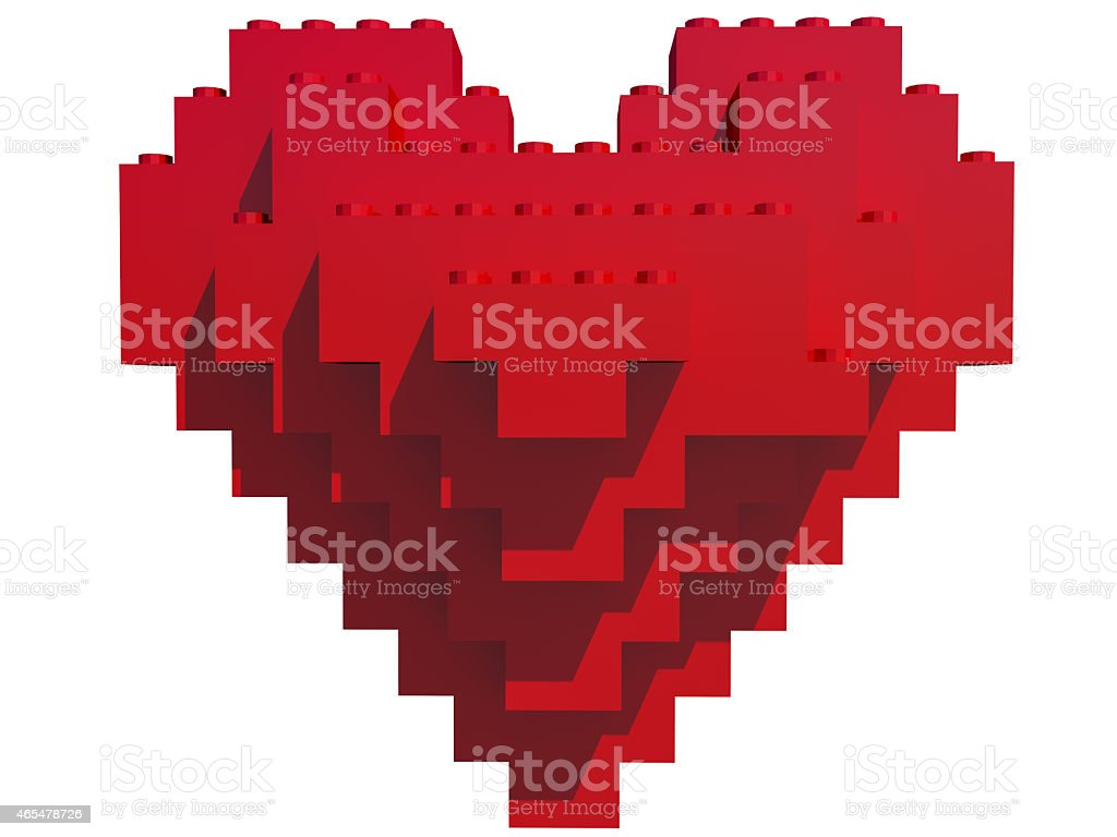 Heart shaped red building blocks stock photo