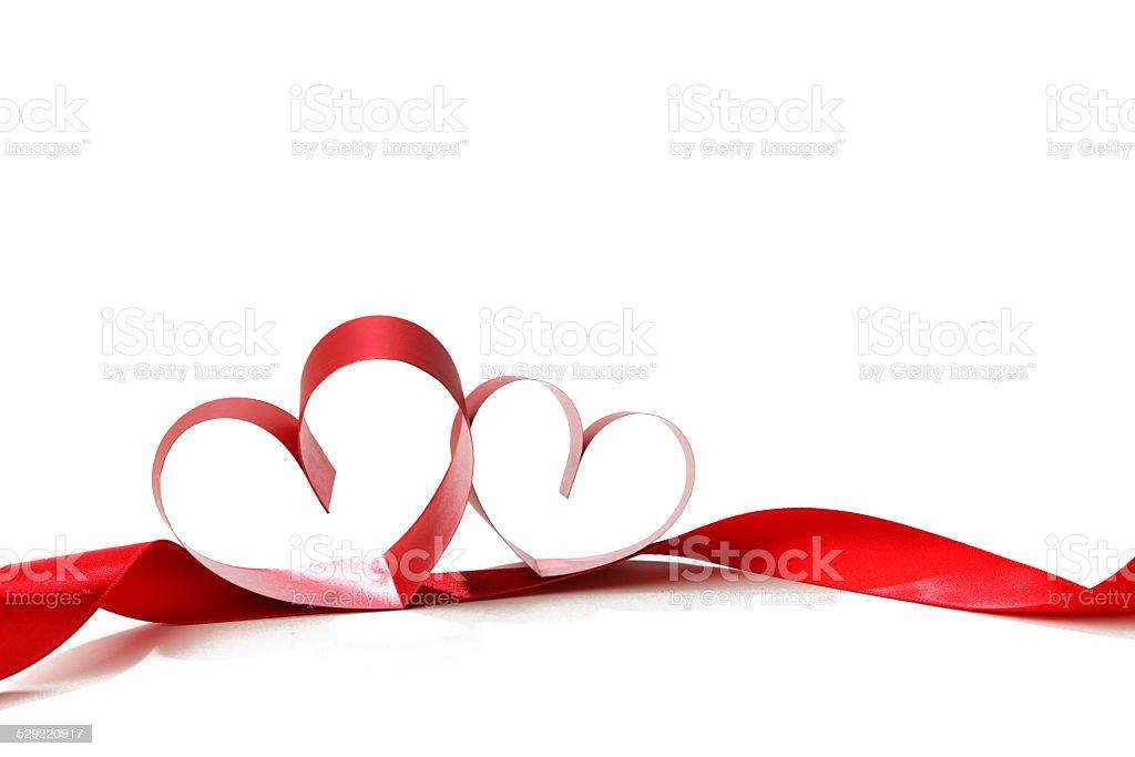 Heart shaped ribbon stock photo