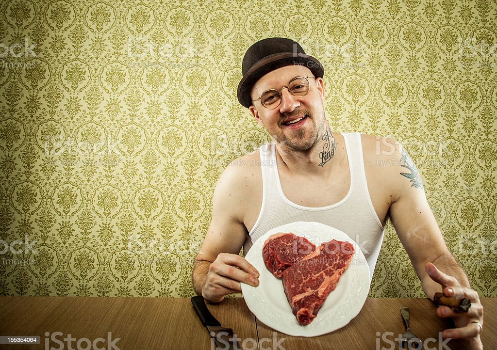 Heart Shaped Steak as a Valentines Present for Husband royalty-free stock photo